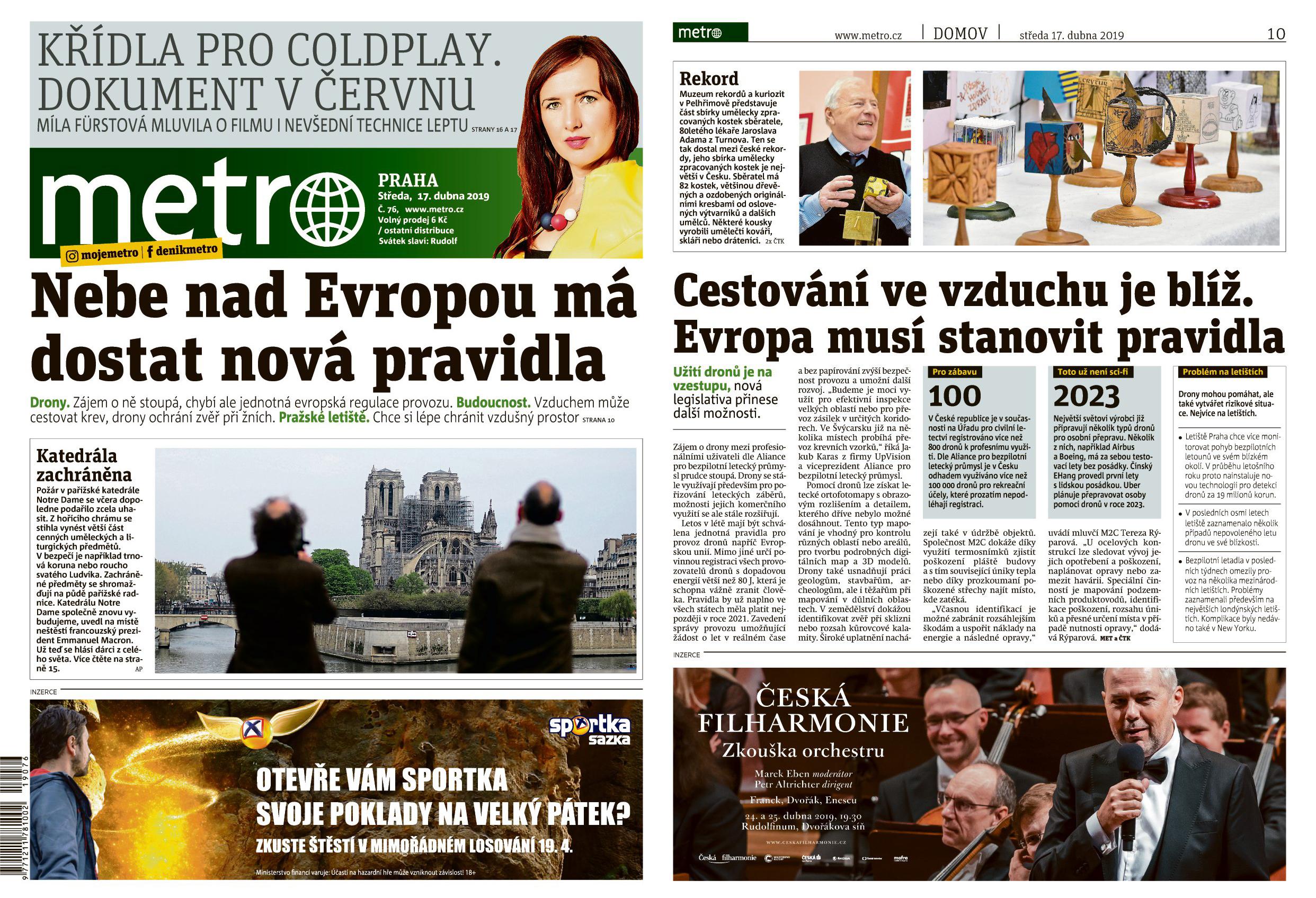 V novinách Metro o blížící se evropské legislativě pro drony