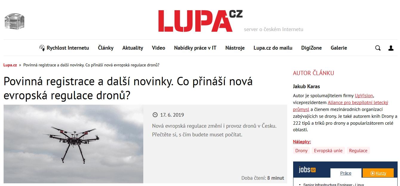 Na Lupa.cz Jakub popsal stručně nově schválenou evropskou legislativu pro drony