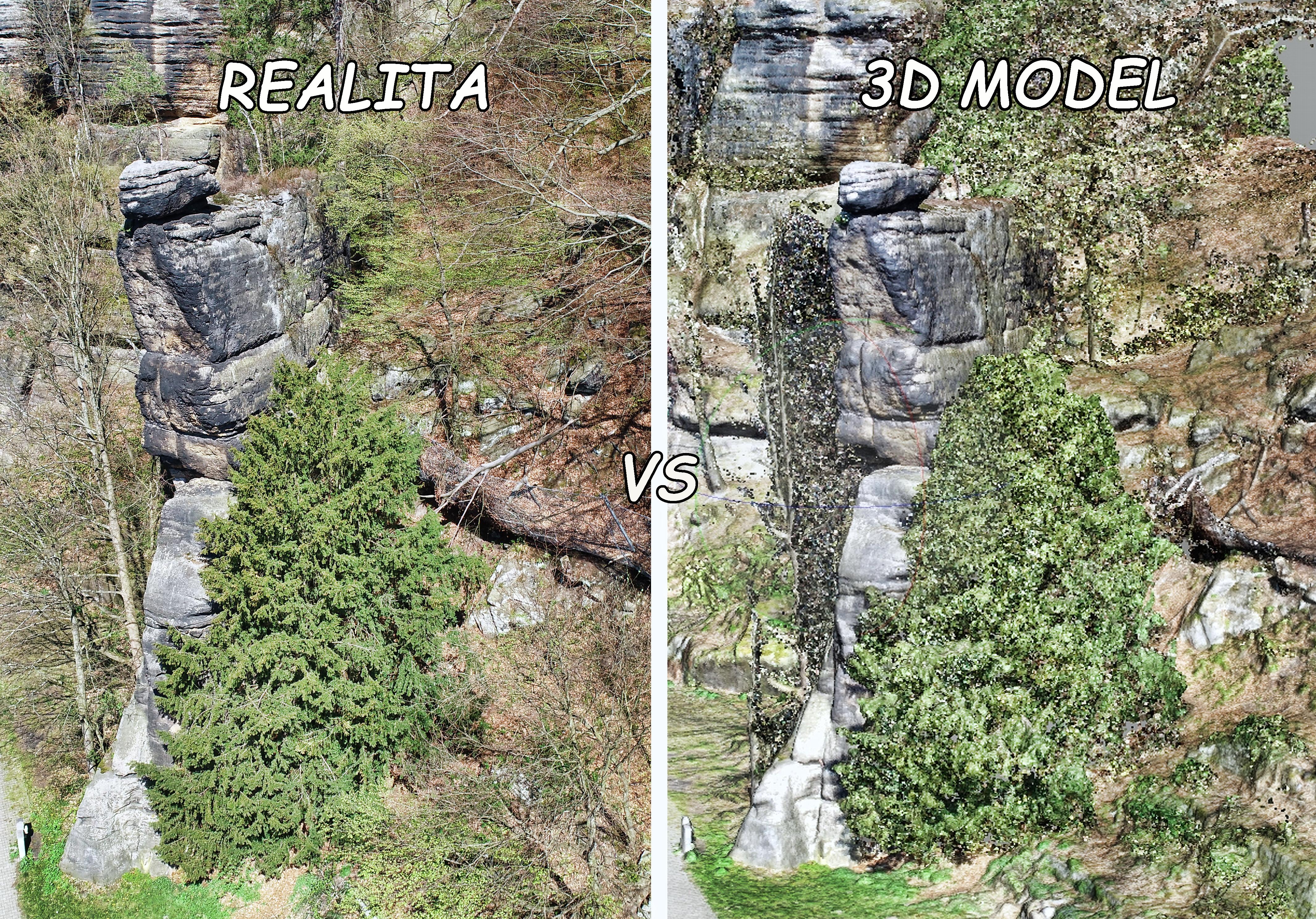 Mapujeme z dronu a vytváříme podrobný 3D model skalních útvarů u Českého Švýcarska