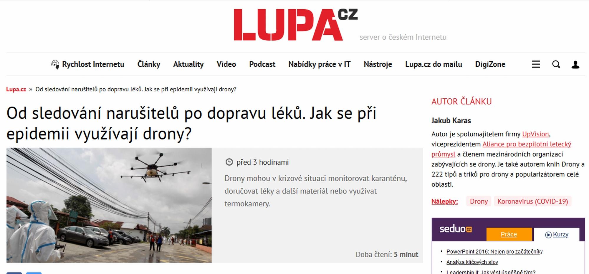 Na Lupa.cz vyšel Jakubův článek o využití dronů po světě v probíhající pandemii