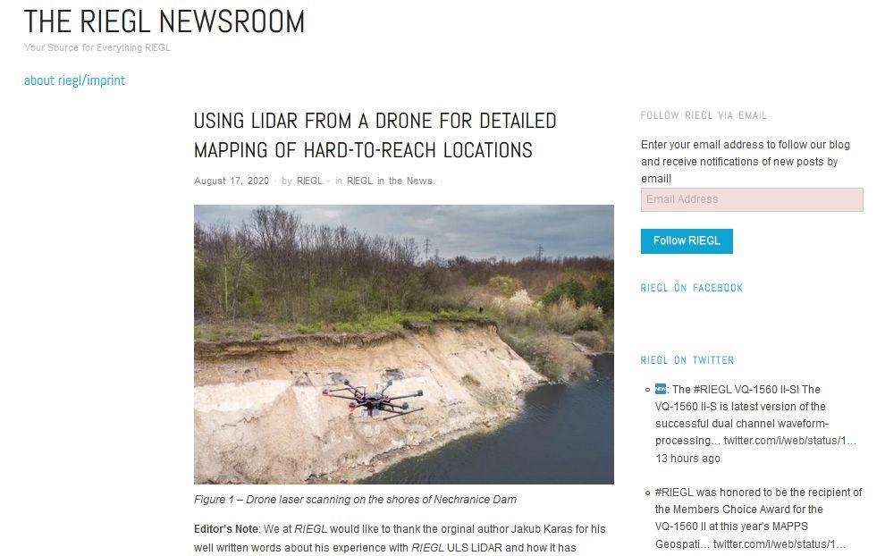 Světová špička Riegl nás sleduje a poprosil o článek o laserovém skenování z UAV